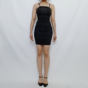 New black ruched body shaping midi dress